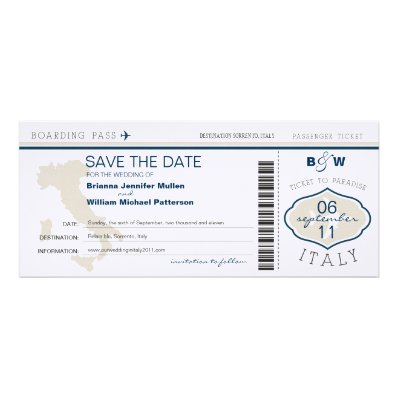 Italy Boarding Pass Save the Date Announcement