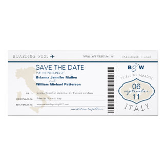 Italy Boarding Pass Save the Date 4x9.25 Paper Invitation Card