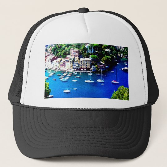 italy boats mountain peace and calm trucker hat