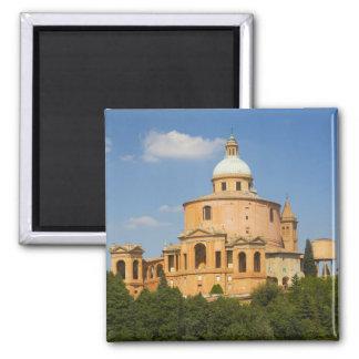 Italy, Bologna, Sunny Day with Portico di San 2 Inch Square Magnet