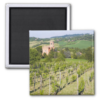 Italy, Bologna, View through Vineyard to Chiesa 2 Inch Square Magnet