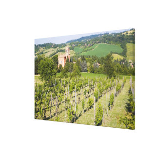 Italy, Bologna, View through Vineyard to Chiesa Canvas Print