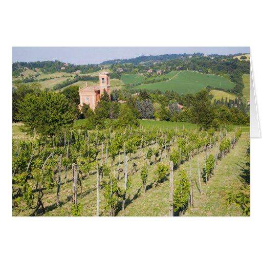 Italy, Bologna, View through Vineyard to Chiesa Card