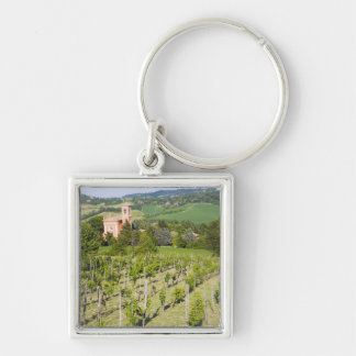 Italy, Bologna, View through Vineyard to Chiesa Keychain