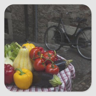 Italy, Brescia Province, Gargnano. Table with 2 Square Sticker