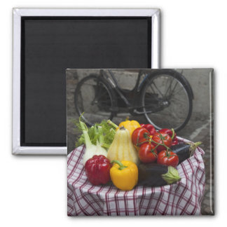 Italy, Brescia Province, Gargnano. Table with Fridge Magnets