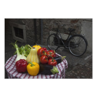Italy, Brescia Province, Gargnano. Table with Photograph