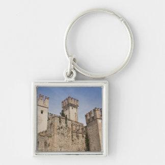 Italy, Brescia Province, Sirmione. Castello 2 Silver-Colored Square Keychain