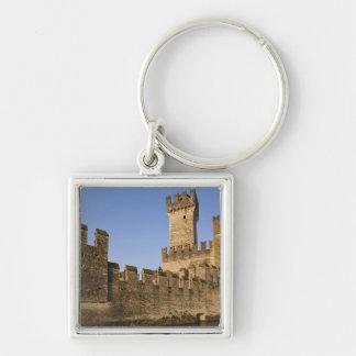 Italy, Brescia Province, Sirmione. Castello Silver-Colored Square Keychain