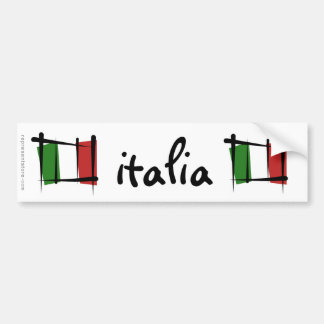 Italy Brush Flag Bumper Sticker