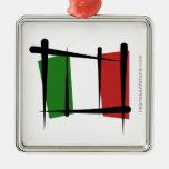 Italy Brush Flag Christmas Tree Ornament