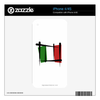 Italy Brush Flag Decals For The iPhone 4
