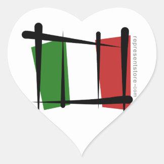 Italy Brush Flag Heart Sticker