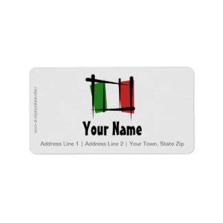 Italy Brush Flag Label