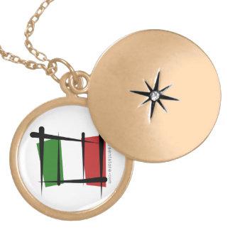 Italy Brush Flag Round Locket Necklace