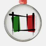 Italy Brush Flag Ornament