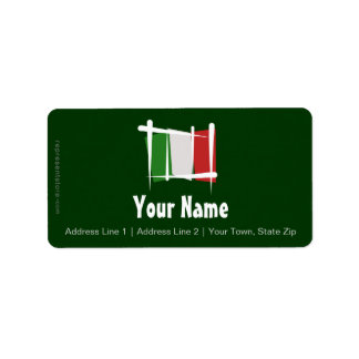 Italy Brush Flag Personalized Address Labels