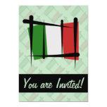 Italy Brush Flag Personalized Invitations
