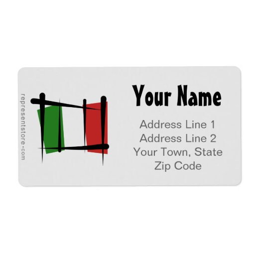 Italy Brush Flag Personalized Shipping Label