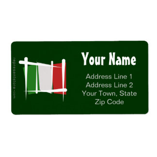 Italy Brush Flag Personalized Shipping Labels