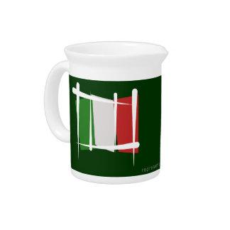 Italy Brush Flag Beverage Pitcher