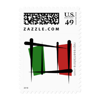 Italy Brush Flag Postage Stamps