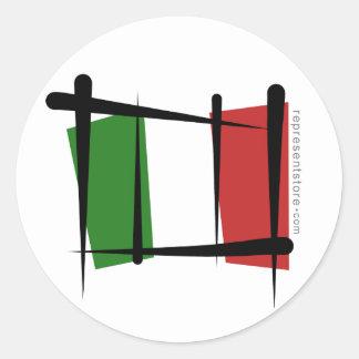Italy Brush Flag Round Stickers