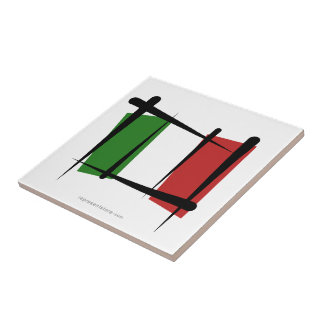 Italy Brush Flag Small Square Tile