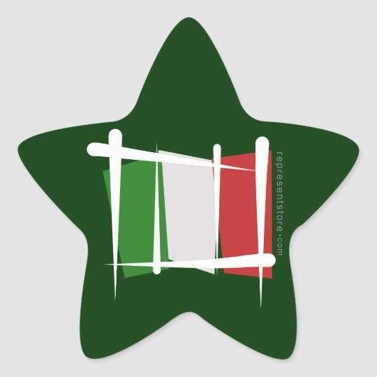 Italy Brush Flag Star Sticker
