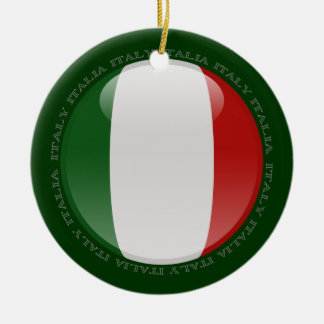 Italy Bubble Flag Double-Sided Ceramic Round Christmas Ornament