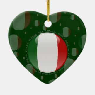 Italy Bubble Flag Double-Sided Heart Ceramic Christmas Ornament