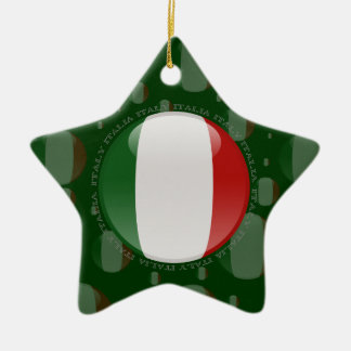Italy Bubble Flag Double-Sided Star Ceramic Christmas Ornament