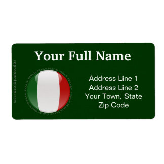 Italy Bubble Flag Shipping Label