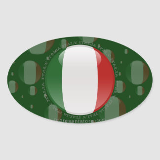 Italy Bubble Flag Oval Sticker