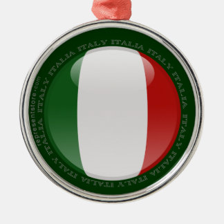 Italy Bubble Flag Round Metal Christmas Ornament
