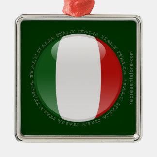 Italy Bubble Flag Square Metal Christmas Ornament