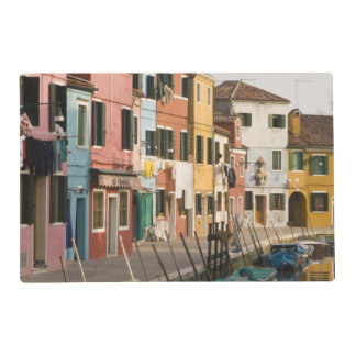 Italy, Burano. Colorful houses of line a Laminated Placemat