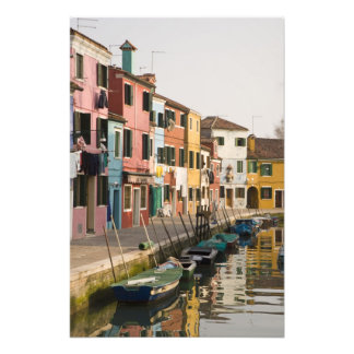 Italy, Burano. Colorful houses of line a Photo Art
