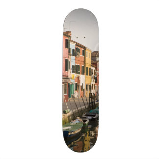 Italy, Burano. Colorful houses of line a Skate Decks