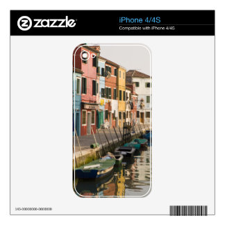 Italy, Burano. Colorful houses of line a Skins For iPhone 4
