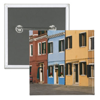 Italy, Burano. Colorful row of homes and empty 2 Inch Square Button