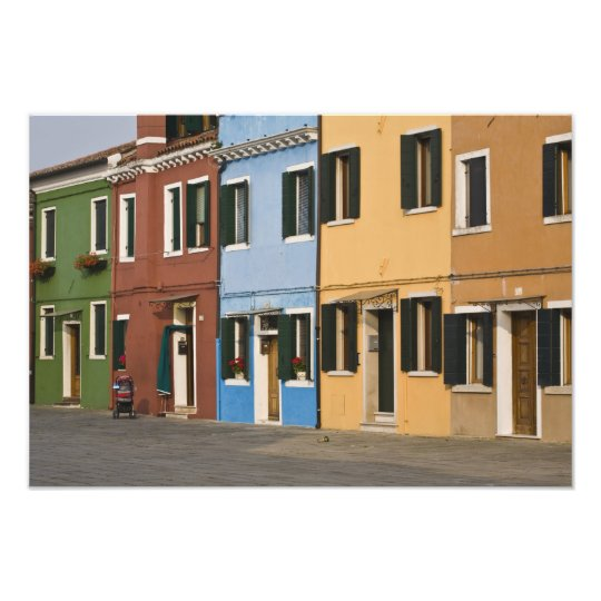 Italy, Burano. Colorful row of homes and empty Photo Print