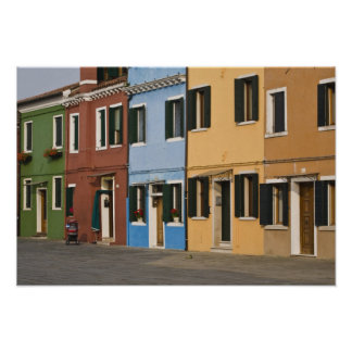 Italy, Burano. Colorful row of homes and empty Poster