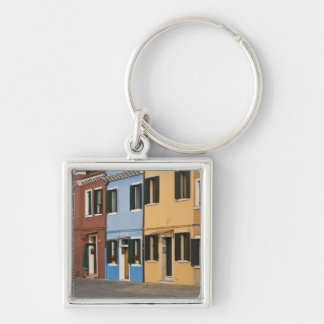 Italy, Burano. Colorful row of homes and empty Silver-Colored Square Keychain