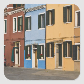 Italy, Burano. Colorful row of homes and empty Square Sticker