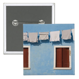 Italy, Burano. Hanging laundry and windows along Pinback Button