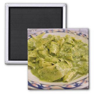 Italy, Camogli. Plate of pasta with pesto 2 Inch Square Magnet