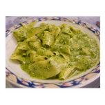 Italy, Camogli. Plate of pasta with pesto Post Card