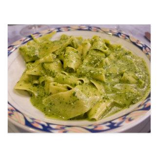 Italy, Camogli. Plate of pasta with pesto Postcard