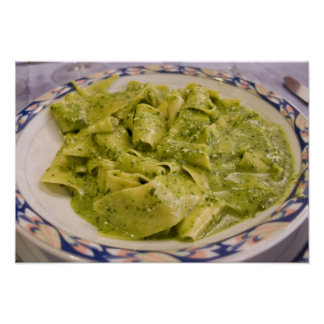 Italy, Camogli. Plate of pasta with pesto Poster